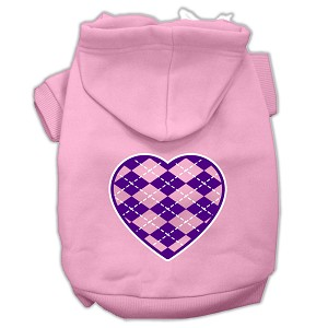 Argyle Heart Purple Screen Print Pet Hoodies Light Pink Size Med (12)