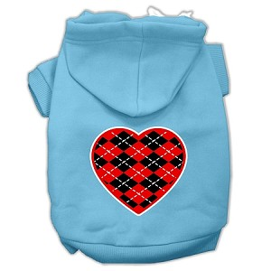 Argyle Heart Red Screen Print Pet Hoodies Baby Blue Size Lg (14)