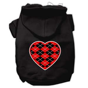 Argyle Heart Red Screen Print Pet Hoodies Black Size Sm (10)