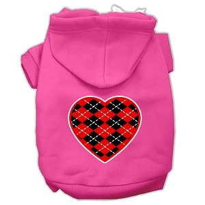 Argyle Heart Red Screen Print Pet Hoodies Bright Pink Size XXL (18)