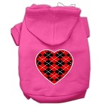 Argyle Heart Red Screen Print Pet Hoodies Bright Pink Size XS (8)