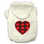 Argyle Heart Red Screen Print Pet Hoodies Cream Size XS (8)