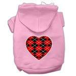 Argyle Heart Red Screen Print Pet Hoodies Light Pink Size XS (8)