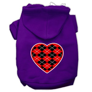Argyle Heart Red Screen Print Pet Hoodies Purple Size Med (12)