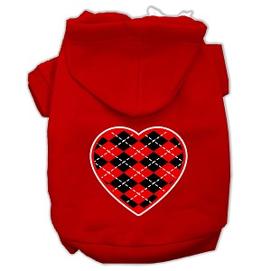 Argyle Heart Red Screen Print Pet Hoodies Red Size Sm (10)