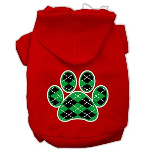 Argyle Paw Green Screen Print Pet Hoodies Red Size XL (16)