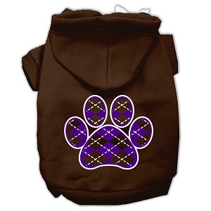 Argyle Paw Purple Screen Print Pet Hoodies Brown Size Lg (14)