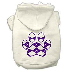 Argyle Paw Purple Screen Print Pet Hoodies Cream Size XXXL(20)