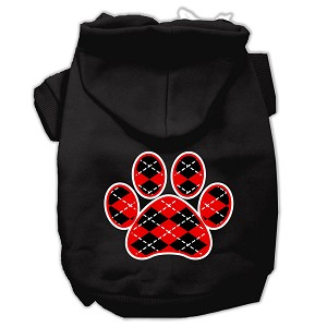 Argyle Paw Red Screen Print Pet Hoodies Black Size XS (8)