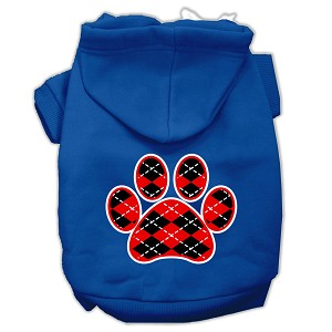 Argyle Paw Red Screen Print Pet Hoodies Blue Size Sm (10)