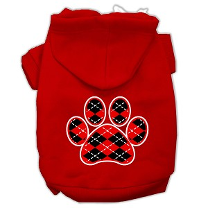 Argyle Paw Red Screen Print Pet Hoodies Red Size Sm (10)