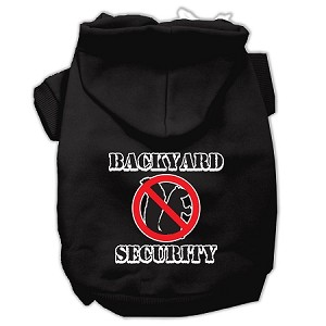 Backyard Security Screen Print Pet Hoodies Black Size XS (8)