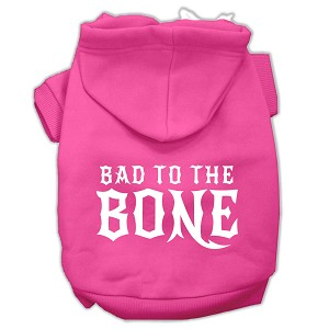 Bad to the Bone Dog Pet Hoodies Bright Pink Size XS (8)
