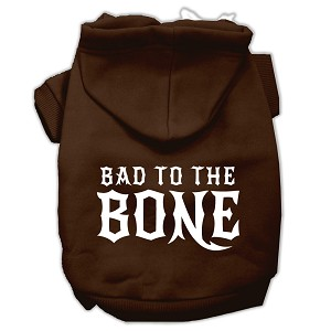 Bad to the Bone Dog Pet Hoodies Brown Size Med (12)