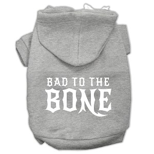 Bad to the Bone Dog Pet Hoodies Grey Size XS (8)