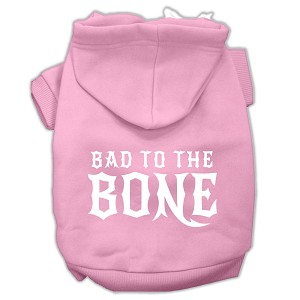 Bad to the Bone Dog Pet Hoodies Light Pink Size Med (12)