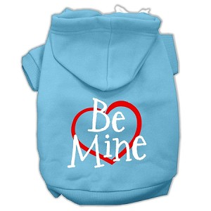 Be Mine Screen Print Pet Hoodies Baby Blue Size XL (16)