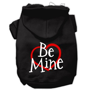 Be Mine Screen Print Pet Hoodies Black Size Lg (14)
