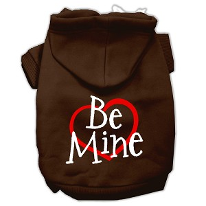 Be Mine Screen Print Pet Hoodies Brown Size Med