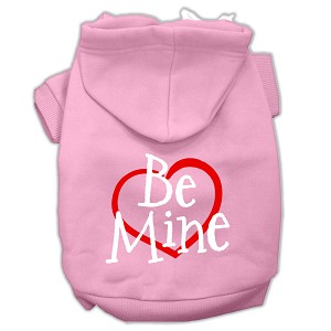 Be Mine Screen Print Pet Hoodies Light Pink Size Sm (10)