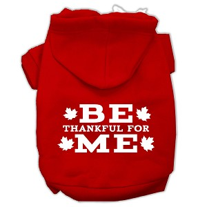 Be Thankful for Me Screen Print Pet Hoodies Red Size L (14)