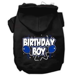 Birthday Boy Screen Print Pet Hoodies Black Size XS (8)