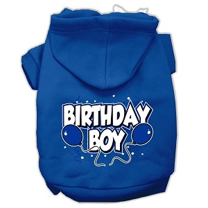 Birthday Boy Screen Print Pet Hoodies Blue Size XS (8)