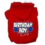 Birthday Boy Screen Print Pet Hoodies Red Size Med (12)