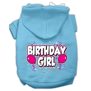 Birthday Girl Screen Print Pet Hoodies Baby Blue Size Med (12)