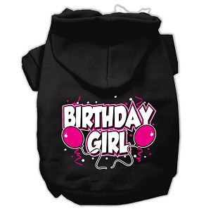 Birthday Girl Screen Print Pet Hoodies Black Size XXL (18)