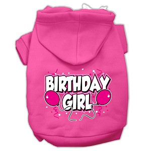 Birthday Girl Screen Print Pet Hoodies Bright Pink Size Sm (10)