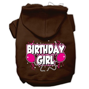 Birthday Girl Screen Print Pet Hoodies Brown Size XS (8)