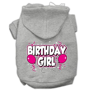 Birthday Girl Screen Print Pet Hoodies Grey Size XL (16)