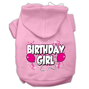 Birthday Girl Screen Print Pet Hoodies Light Pink Size Med (12)