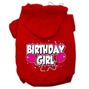 Birthday Girl Screen Print Pet Hoodies Red Size XS (8)