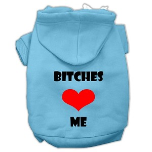Bitches Love Me Screen Print Pet Hoodies Baby Blue Size XXXL (20)
