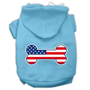 Bone Shaped American Flag Screen Print Pet Hoodies Baby Blue S (10)