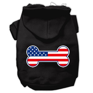 Bone Shaped American Flag Screen Print Pet Hoodies Black Size Lg (14)