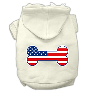 Bone Shaped American Flag Screen Print Pet Hoodies Cream Size XS (8)