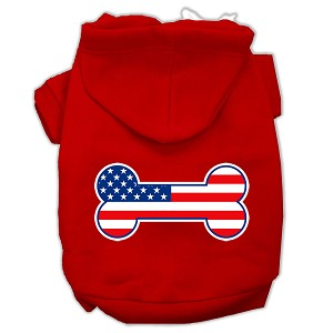 Bone Shaped American Flag Screen Print Pet Hoodies Red Size Lg (14)