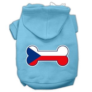 Bone Shaped Czech Republic Flag Screen Print Pet Hoodies Baby Blue XXXL(20)