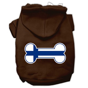 Bone Shaped Finland Flag Screen Print Pet Hoodies Brown L (14)