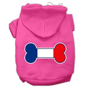 Bone Shaped France Flag Screen Print Pet Hoodies Bright Pink Size XS (8)