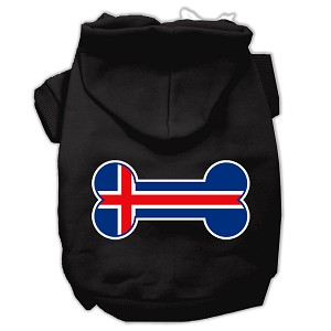 Bone Shaped Iceland Flag Screen Print Pet Hoodies Black XXL (18)