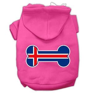Bone Shaped Iceland Flag Screen Print Pet Hoodies Bright Pink Size XXXL(20)