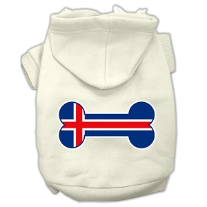 Bone Shaped Iceland Flag Screen Print Pet Hoodies Cream Size S (10)