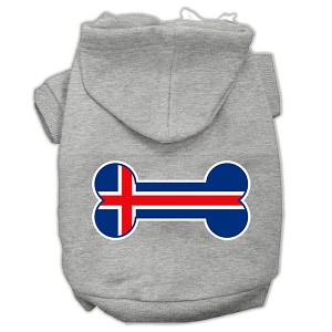 Bone Shaped Iceland Flag Screen Print Pet Hoodies Grey XXL (18)
