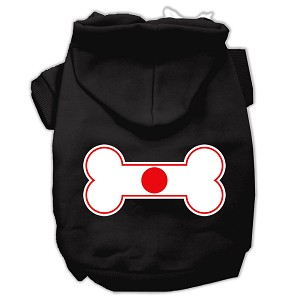 Bone Shaped Japan Flag Screen Print Pet Hoodies Black M (12)