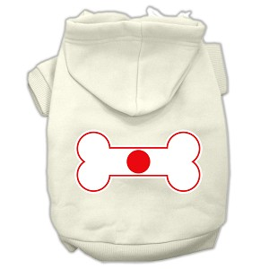 Bone Shaped Japan Flag Screen Print Pet Hoodies Cream Size L (14)