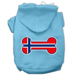 Bone Shaped Norway Flag Screen Print Pet Hoodies Baby Blue L (14)